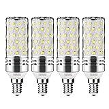 Gezee LED Silber Mais Glühbirnen E14 15W 120W Entspricht Glühbirnen Nicht dimmbar 6000K Kaltweiß 1500Lm Kleine Edison-Schraube Kerze Leuchtmittel (4er-Pack)