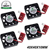 4pcs 3D Printer Fan 12V 0.08A DC Mini Quiet Cooling Fan 40X40X10mm with 28cm Cable for 3D Printer, DVR,and Other Small Appliances Series Repair Replacement