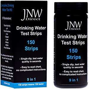 JNW Direct 9 in 1 Drinking Water Test Strips, Best Kit for Accurate Water Quality Testing at Home, 150 Strips MEGA PACK, Easy to Read & Instant Results