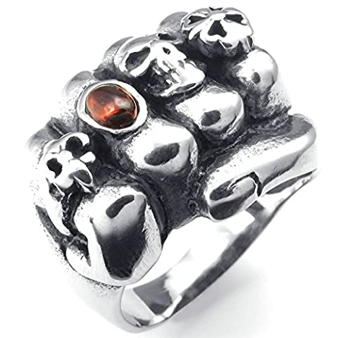 Gnzoe Jewelry,Mens Stainless Steel Rings Bands, CZ Gothic Cross Skull Fleur De Lis Fist Red Silver Size V 1/2