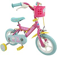 Official Peppa Pig Childrens Kids 12 Bicycle Stabilisers Puncture Proof Bike by MV Toys