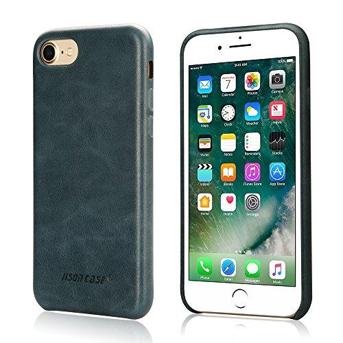 Jisoncase VINTAGE Handytasche iPhone 7 Hülle, Grau, Leder, JS-IP7-02A64 Blau