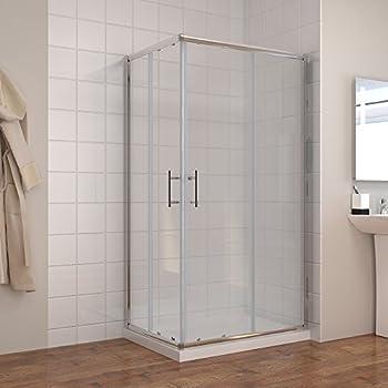 Duschkabine 120x90cm Eckeinstieg Doppel Schiebetür Echtglas Duschwand