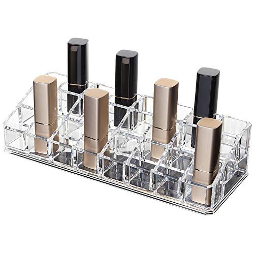 Organiseur de maquillage en acrylique transparent 24 rouges à lèvres Support d'exposition Cosmetic Organisateur de maquillage Diverses Boîte de rangement