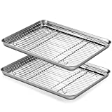 Baking Tray with Rack Set of 4, TeamFar Stainless Steel Baking Sheet Pan with Cooling Rack, Non Toxic & Healthy, 40x 30x 2.5 cm, Mirror Finish - Easy Clean & Dishwasher Safe - 4 Pack(2 Trays+2 Racks)