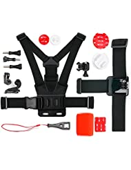 Kit complet d'accessoires pour TecTecTec XPRO1, XPRO2 / XPRO 2+, XPRO 360+ 360°, XPRO3 et XPRO4 / XPRO4+ Caméra de Sport et Action - idéal en Ski, Surf, Paddle board, Vtt ,kayak etc... - DURAGADGET