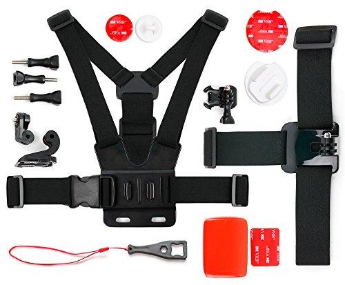 DURAGADGET Le presenta este magnífico kit de accesorios para cámaras deportivas.Este conjunto de accesorios hecho con materiales de primera calidad es el pack completo que todo amante de la acción y el deporte debería poseer.Ya sea en tierra, en el a...