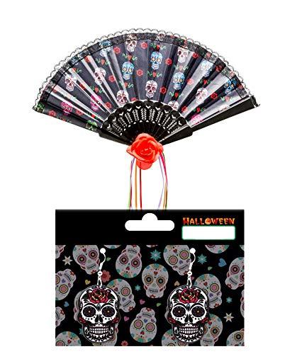 LEMON TREE SL Accesorio Disfraz Halloween Abanico Calado Negro y Un Par de Pendiente diseño Calaveras Mexicanas de Regalo.