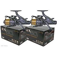 2 x EX60 Bait Runner Carp Fishing Reel Twin Handle 10LB Line Spare Spool 4BB NGT