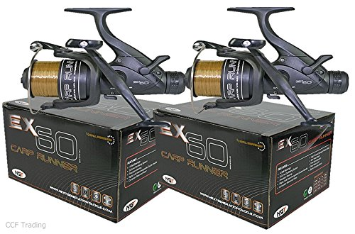 2-x-ex60-bait-runner-carp-fishing-reel-twin-handle-10lb-line-spare-spool-4bb-ngt