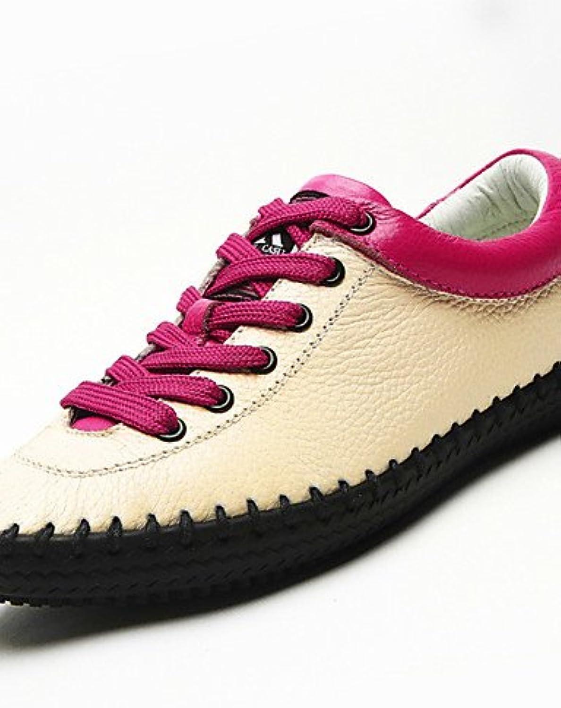 ZQ Zapatos de mujer-Tacón Plano-Comfort-Oxfords-Casual-Cuero-Negro / Beige / Fucsia , black-us6.5-7 / eu37 / uk4.5...
