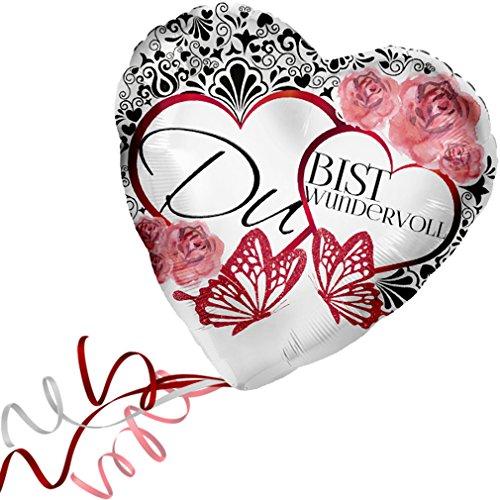 > > > Fertig Heliumbefüllt < < < Folienballon Großes Herz Rot mit Blumen-Schmetterlingen-Motiv > Du Bist Wunderbar < Ballon mit Helium/Ballongas gefüllt Liebe Heiratsantrag Valentinstag