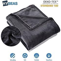 HYSEAS Manta suave de microfibra, 180 x 220 cm, Negro, cálida con tacto de terciopelo para sofá o cama, anti-arrugas y transpirable(Disponible en varios colores y tamaños)