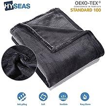 HYSEAS Manta suave de microfibra, 150 x 200 cm, Negro, cálida con tacto de terciopelo para sofá o cama, anti-arrugas y transpirable(Disponible en varios colores y tamaños)