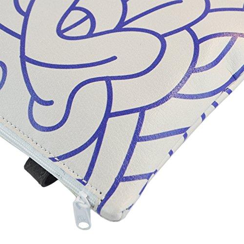 derriere Pochette_DL_11_SLIPTHETONGUE_GREYBLUE - Riñonera unisex-adultos Gris Grigio, Blue 18.5 x 14.5 x 2 cm
