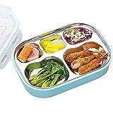 JIAYIBAO Bento Box Edelstahl Student Rechteckig Grün Versiegelte Isolierung 3 Farbe Lunchbox Doppelschicht (Farbe : Blau)