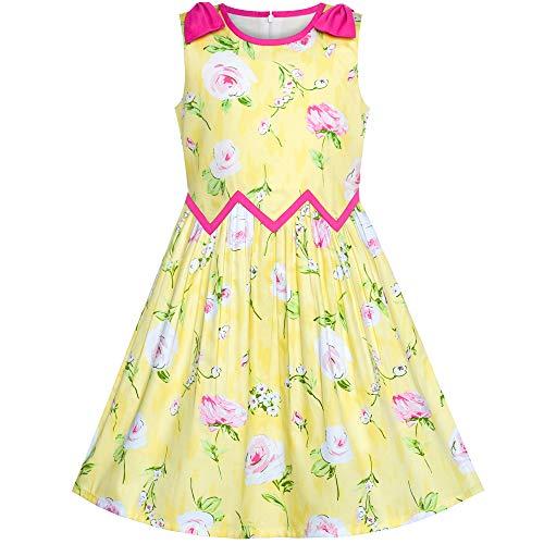(Sunboree Mädchen Kleid Gelb Rosa Rose Blume Chevron Taille Bogen Binden Gr. 146)