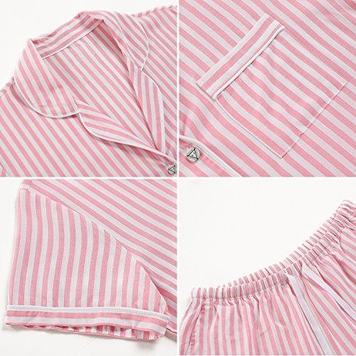 Ekouaer Damen Gestreift Schlafanzug Kurzarm Zweiteiliger Streifen Pyjama Hausanzug Knöpfen Rot Weiß