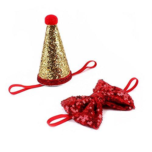 d Mit Hut Schleife Puppy Pet Kostüm Halsband Streifen Schleife–Perfekt für Hochzeit Krawatte Party Zubehör (Kostüme City Party)