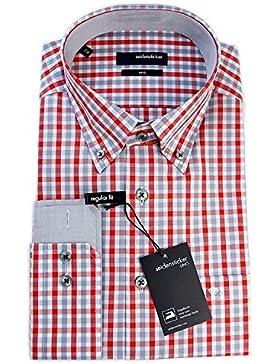 Seidensticker Herren Langarm Hemd Uno Regular Fit Button-Down-Kragen mehrfarbig kariert mit Patch 131378.46