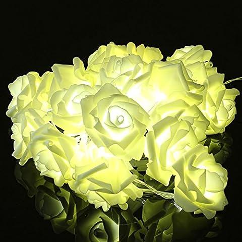 Bluelover 20 LED romantique Rose Flower Fairy ELECTRIQUE pour Wedding Party-blanc
