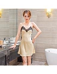 XW-atxsLadies Lace pijama camison cabestro vestido de seda Home Furnishing extrema ,XL,Color oro de lujo
