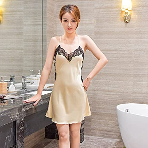 XW-atxsLadies lace pajamas nightdress Halter silk dress Home Furnishing extreme ,XL,Luxury gold color