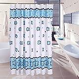 Duschvorhang 240x180 (Breite x Höhe) textil aus stoff Anti-Schimmel Wasserdicht Schön Fisch Badezimmer Vorhang Shower Curtain Liner Blauer Seefisch
