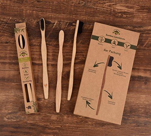 4er Pack ♻ Bambus Zahnbürste mit reinem Bambus-Holz ✮ vegan ✮ biologisch abbaubar ✮ 100% frei von BPA ✮ Borsten mit Bambus-Holzkohle für beste Sauberkeit - 2