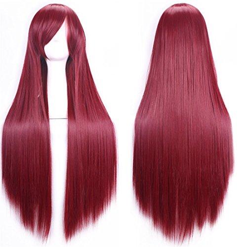 (Chiguo Perücke 80cm Langes Glattes Blond Schwarz Braun Rosa Grau Usw Perücke Haar für Damen Frauen Karneval Cosplay Halloween Schaufensterpuppen Mottoparties (Tiefes rot))