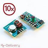 AZDelivery ⭐⭐⭐⭐⭐ 10 x 433 MHz Funk - Sende und Empfänger Modul Set für Raspberry und Arduino Wireless Transmitter Receiver mit Gratis eBook!