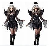 XXF Schwarz Sexy Halloween Dark Angel Kostüm Anziehende Uniform Spiel Zombie Kostüm Weibliche Geist Braut Teufel Tragen,Schwarz,XXL
