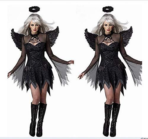XXF Schwarz Sexy Halloween Dark Angel Kostüm Anziehende Uniform Spiel Zombie Kostüm Weibliche Geist Braut Teufel Tragen,Schwarz,L