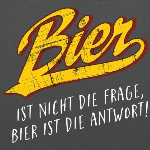 Spreadshirt Bier Ist Nicht Die Frage Bier Ist Die Antwort RAHMENLOS Stoffbeutel Graphite