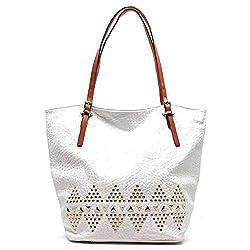 2Chique Boutique Womens Trendy White Rockstud Tote