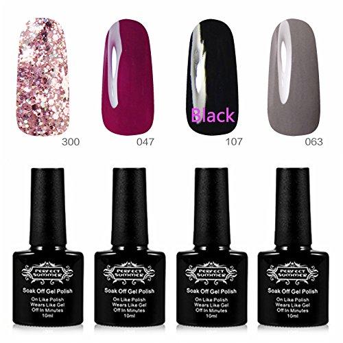 Perfect Summer Lot Vernis à Ongles Semi Permanent UV LED Soak Off Nail Art Manucure Kit #05 (10mlX4PCS)