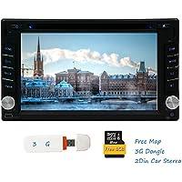 Digitale touch 3G Dongle Autoradio unit¨¤ principale 6.2 pollici a schermo doppio din in dash Stereo Bluetooth GPS Supporto Video Sistema Audio Multimediale di navigazione DVD CD AUX iPod USB SD Subwoofer CAM-in 1080p 2in Car DVD Player