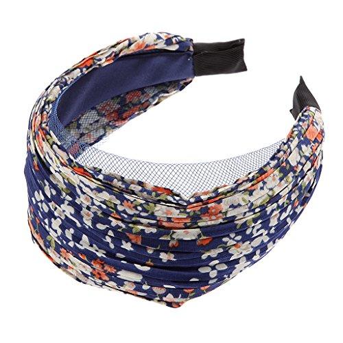Bandeau Large Serre-tête Accessoire pour Cheveux Plissé Floral Marine