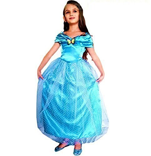 Größe L - 5-6 Jahre - Kostüm - Verkleidung - Karneval - Halloween - Prinzessin - Aschenputtel - Blaue Farbe - Kleines Mädchen - Ladybug (Weihnachts Tanz Kostüm Ideen)