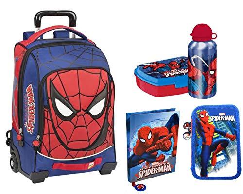 Spiderman zaino trolley scuola,astuccio triplo, diario,set colazione