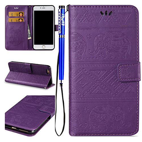 EUWLY Lanyard Portafoglio Cover in Pelle per iPhone 7 Plus/iPhone 8 Plus (5.5) Cover Bumper ,Nuovo Divertente/Carina/Moda Retro Custodia [Elefante, Retro Totem] Goffratura Motivo Modello Cover Case I Elefante,Viola