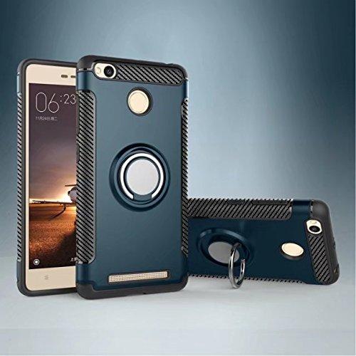 Happy-L Coque pour Xiaomi Redmi 3S / 3 Prime, étui de Protection Robuste 2 en 1 Armor avec Porte-Bague Rotatif à 360 degrés et étui de Fixation magnétique pour Voiture (Couleur : Marine)