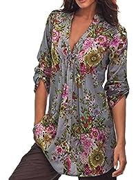 Manches longues Blouse, Femme Chemisier imprimé floral Vintage Dessus de tunique de V-Neck Mode plus taille Tops shirt