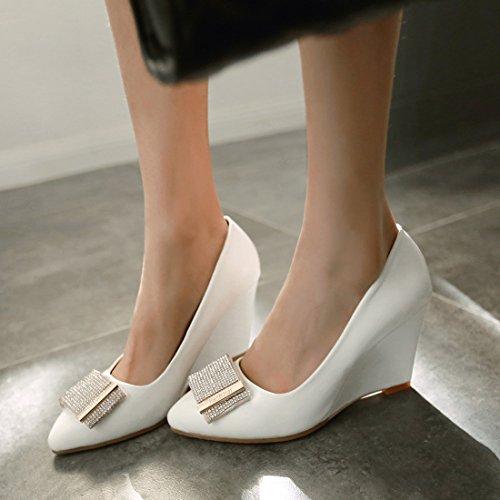 Senhoras De E Com Brancos Centímetros Partido Brilhantes Elegantes Sapatos Calcanhar Strass Alto Confortável Bombas De 8 Cunha Salto Salto Cunhas Ó Vestido Sapatos 67qd6g