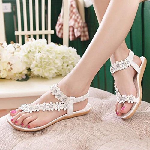 Tonsee Femmes sandales Bohème perles Clip Toe sandales plage Herringbone sandales Blanc2