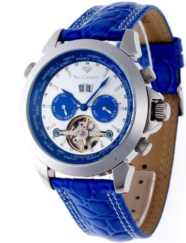 Yves Camani - YC1029-H - Worldtimer - Montre Homme - Automatique Analogique - Cadran Multicolore - Bracelet Cuir Bleu