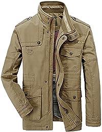 fa11ce72d818 FGYYG New Hommes Automne Hiver Warm Coton Militaire Veste Outdoor  Transition Blouson Manteaux Mens Standing Collar