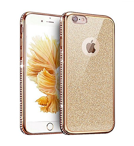 iphone 6s Transparent Hülle,Ultra dünn iphone 6 Gliiter TPU Bumper Case,Ekakashop Modisch Durchsichtig Luxus Silikon Flexible Gel Shiny Case Crystal Bling Handytasche mit Diamant Schale Handyhülle Sch Gold Glitzern