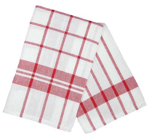 Ligne Décor Lot de 2 Torchons Imprimé Carreaux Coton Rouge 50 x 70 cm