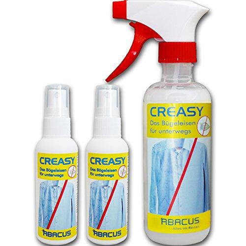 CREASY SET (7294) - Antifaltenspray für Textilien Faltenentferner Falten-ex Faltenglätter-Spray Faltenfrei Anti-Bügeln Reisebügeleisen Bügeln ohne Bügeleisen Knitterfaltenentferner - ABACUS